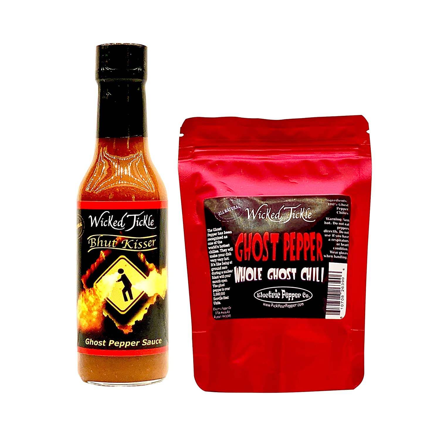 Ghost Pepper Hot Sauce 7 Whole Ghost Peppers Wicked Tickle Bhut Kisser Very Hot