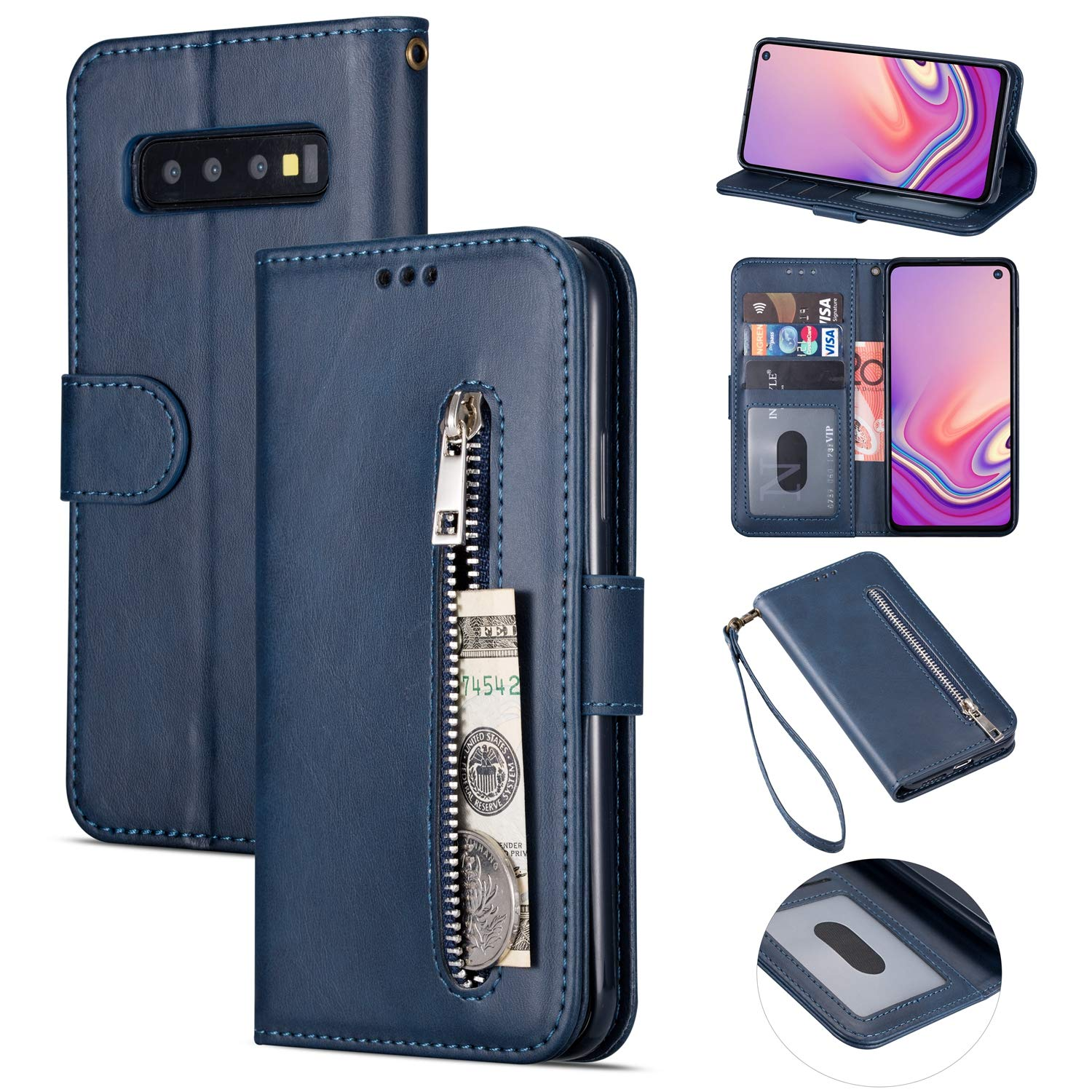Zipper Wallet Case with Black Dual-use Pen for Samsung Galaxy S10 Plus,Aoucase Money Coin Pocket Card Holder Shock Resistant Strap Purse PU Leather Case for Samsung Galaxy S10 Plus - Dark Blue