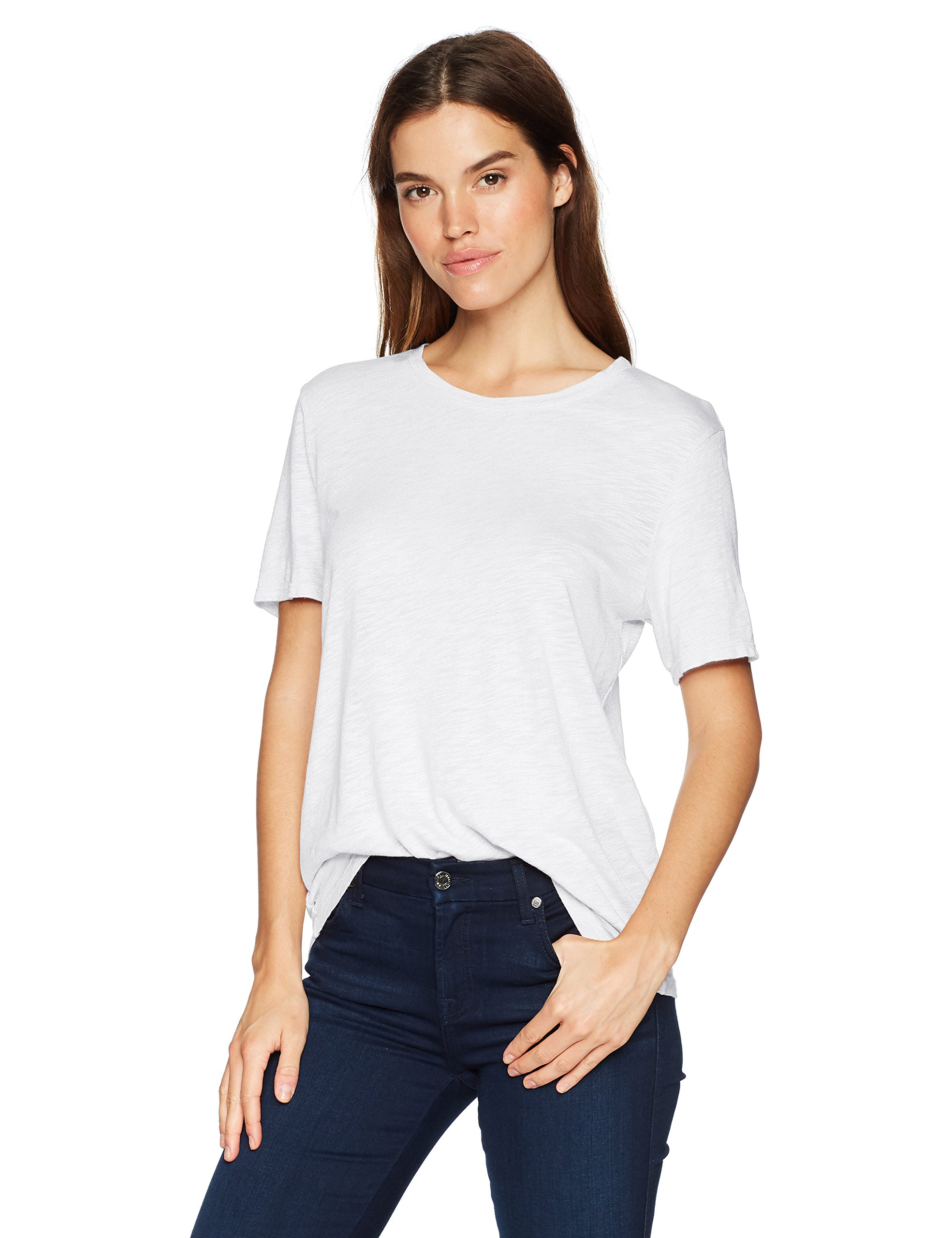 Splendid Women's Short Sleeve Crew Neck, White, S