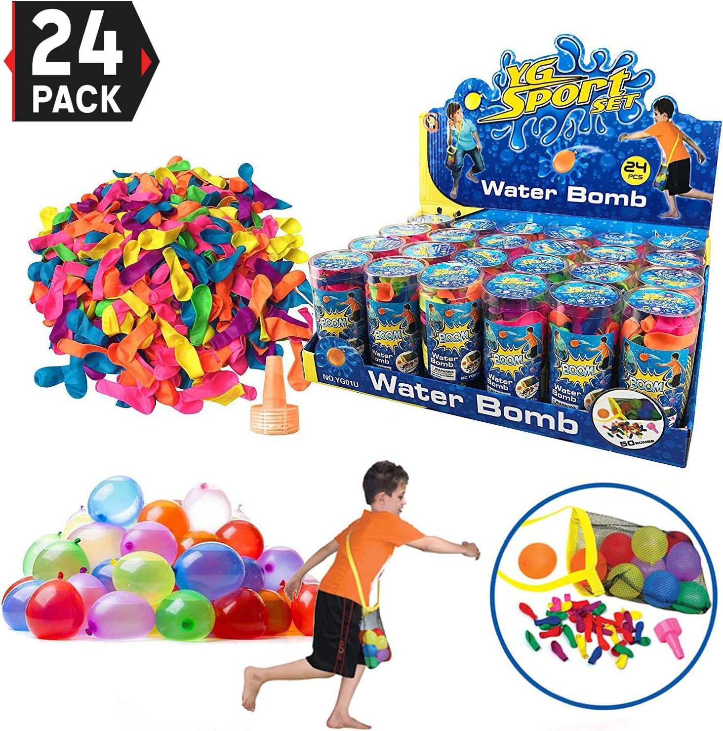 24 Pack - Refill Kits von Latex Water Balloons Bomb - Summer Water Balloon Fight, Party Favors, Sports Spaß für Kids und Adults - Multicolored mit Nozzle und Carry Bag (1200 Count)