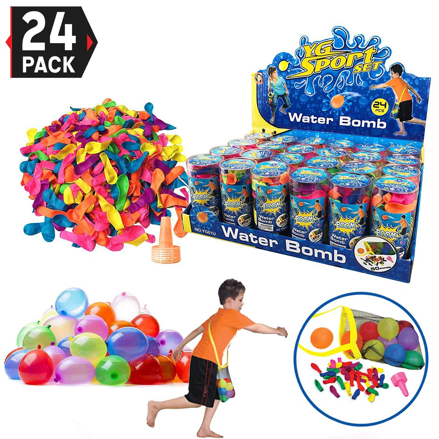24 Pack - Refill Kits of Latex Water Balloons Bomb - Summer Water Balloon Fight, Party Favors, Sports Fun for Kids and Adults - Multicolored with Nozzle and Carry Bag (1200 Count) by Liberty Imports (Image #1)