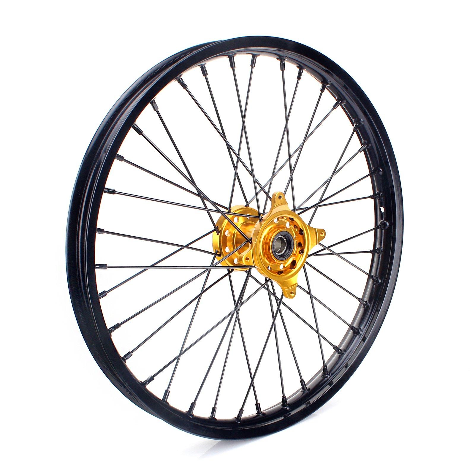 TARAZON 21'' MX Front Complete Wheel Kit Rim Spokes Gold Hub for Suzuki RMZ250 2007-2016 RMZ450 2005-2016