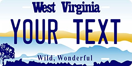 West Virginia State Personalized License Plate Metal Tag For Car Moped ATV Bike