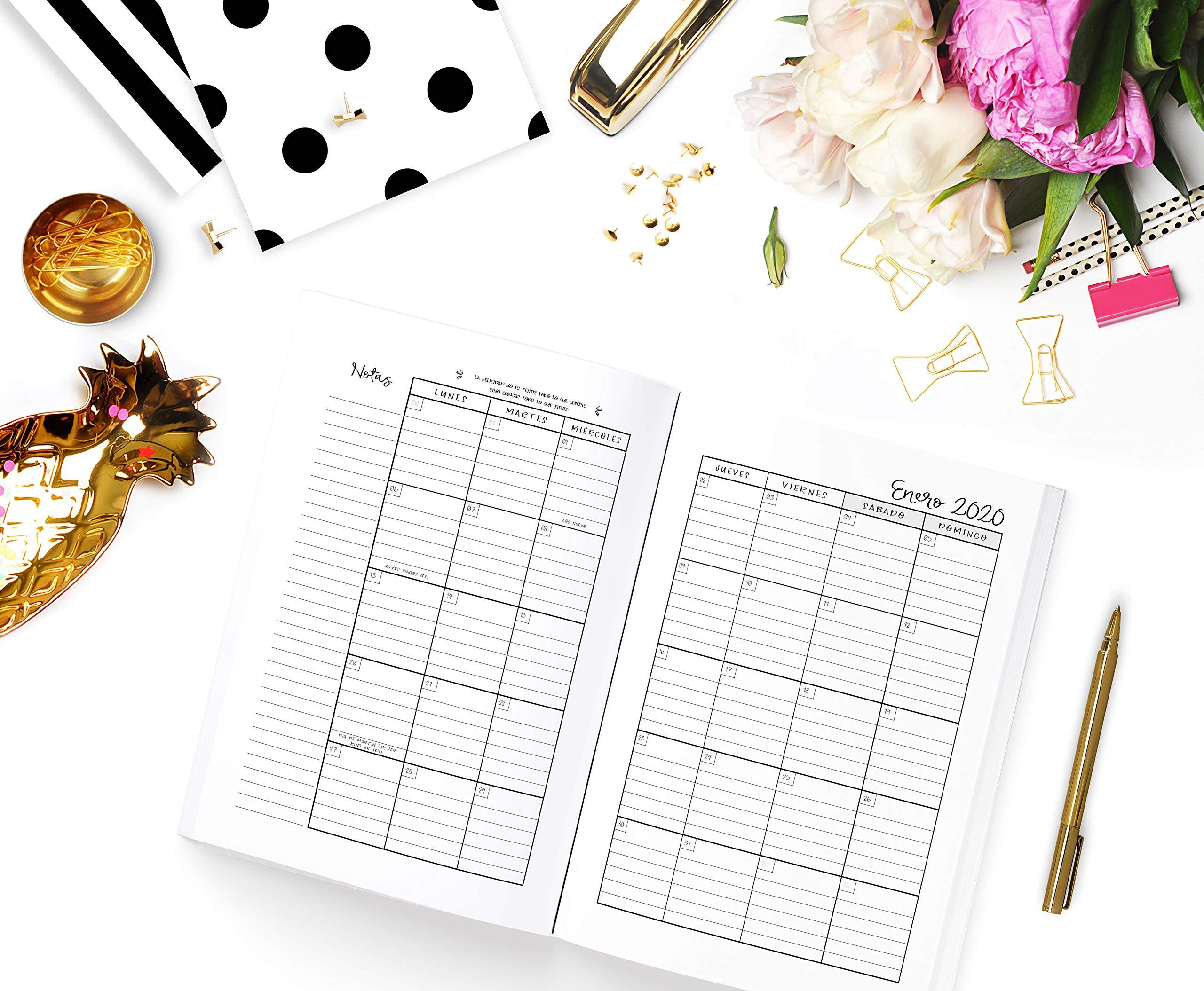 Agenda: Diaria de 12 Meses   Vista Semanal y Mensual ...