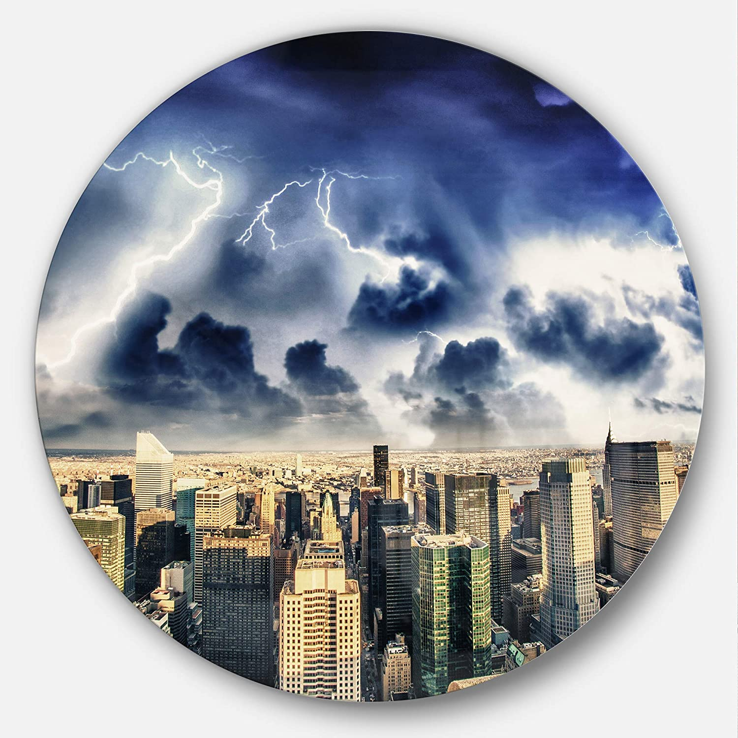 Amazon Com Designart Storm Above Manhattan Skyscrapers Cityscape Photo Large Metal Wall Art Disc Of 23 Inch 23 H X 23 W X 1 D 1p Green Posters Prints