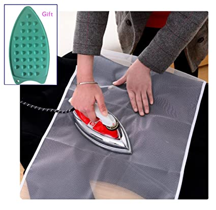 2-Pack Lofekea Protective Ironing Scorch Saving Mesh Pressing Pad Cloth includes a Silicone Iron Rest Mat