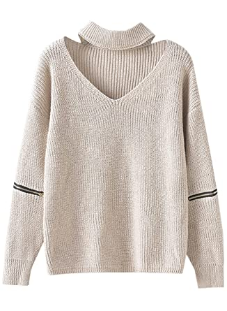 Futurino Women's Solid Choker V Neck Long Sleeve Loose Knit ...