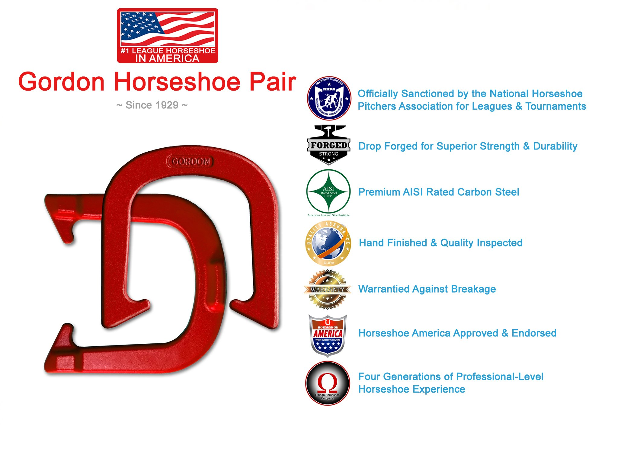 Gordon Professional Pitching Horseshoes - NHPA Sanctioned for Tournament Play - Drop Forged Construction - One Pair (2 Shoes) - Red Finish - Medium Weight