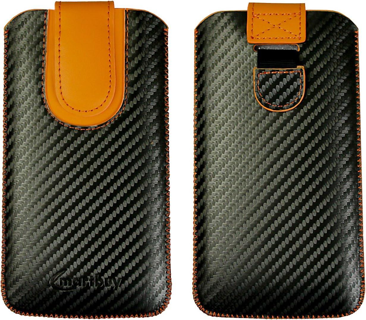 Emartbuy Oscuro Gris/Azul Carbono Fibre Finish Premium PU Cuero De ...