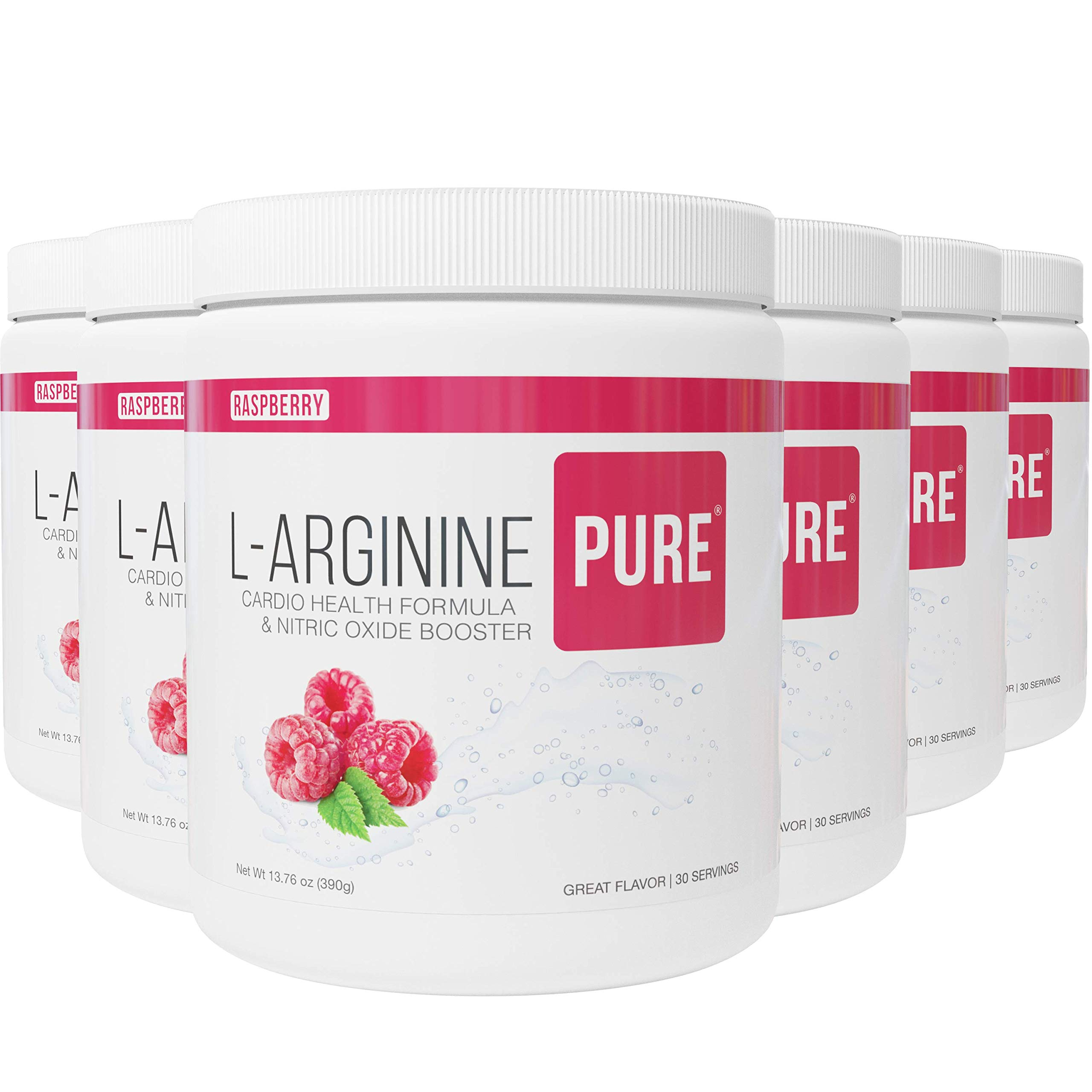 L-Arginine Pure ® | Best Tasting L-arginine Drink Mix Formula for Blood Pressure, Cholesterol, Heart Health, and More Energy (13.7 oz, 390g) (Raspberry, 6 Bottles)