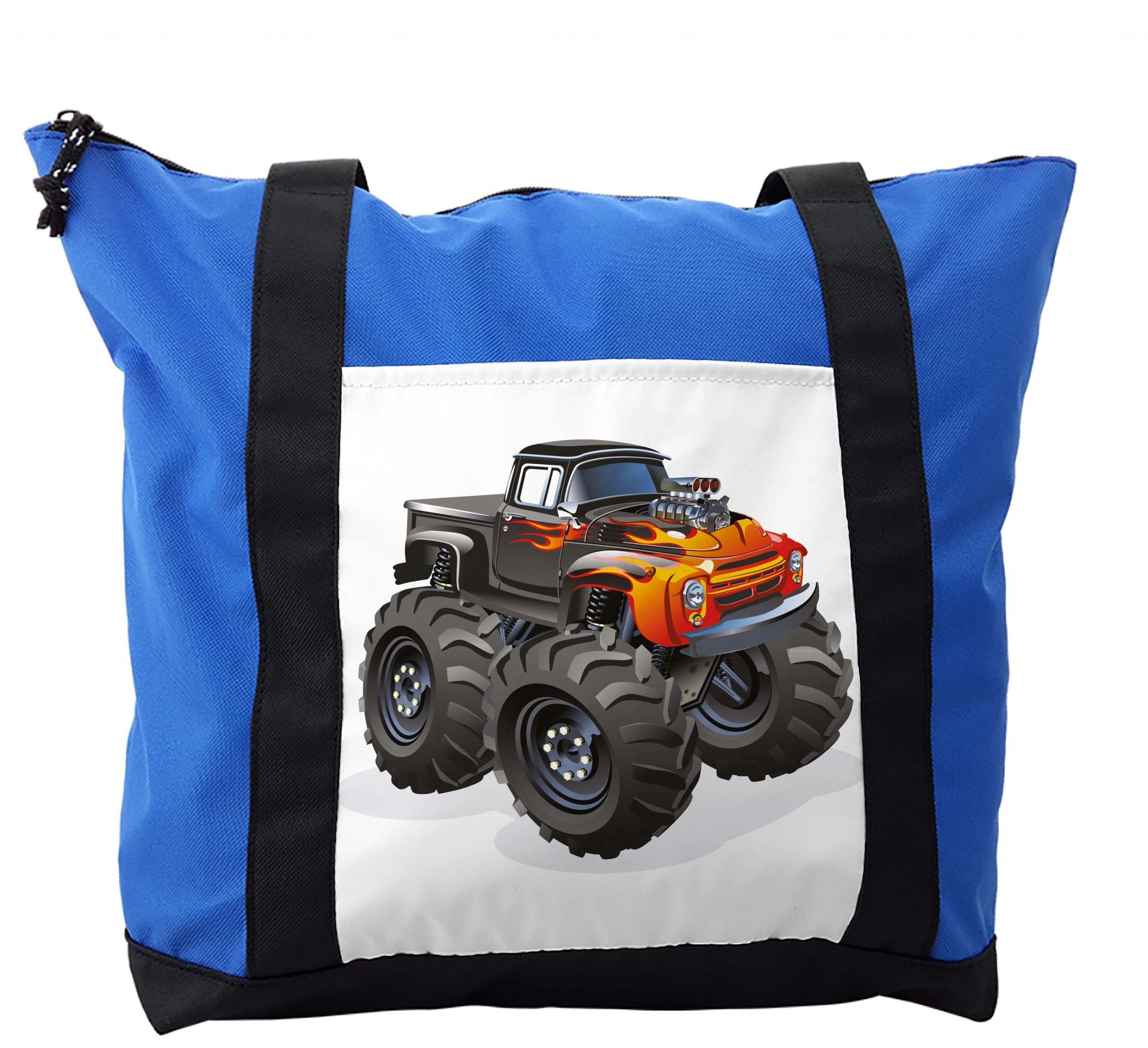 Lunarable Boy's Room Shoulder Bag, Monster Truck in Flame, Durable with Zipper