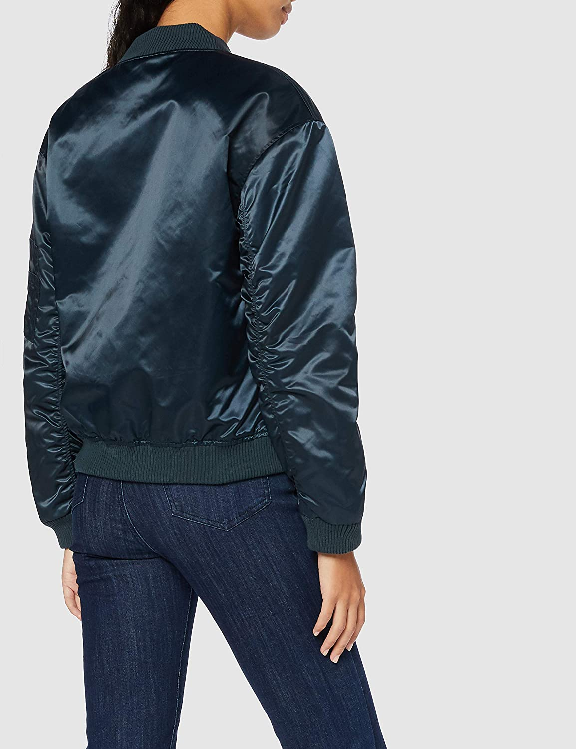 Womens Bomber Jacket Satin Long Sleeves Crew Neck Brand find