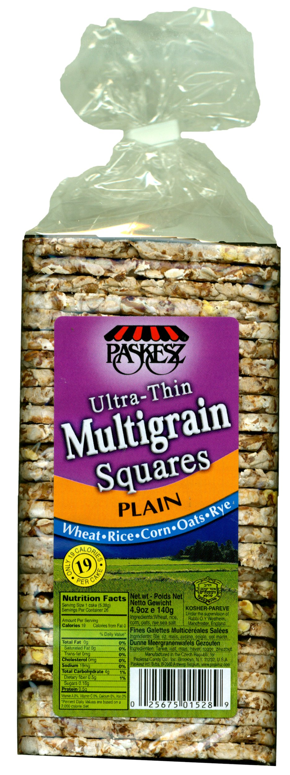 Paskesz Multigrain Square Plain, 4.9-Ounce Packages (Pack of 12)