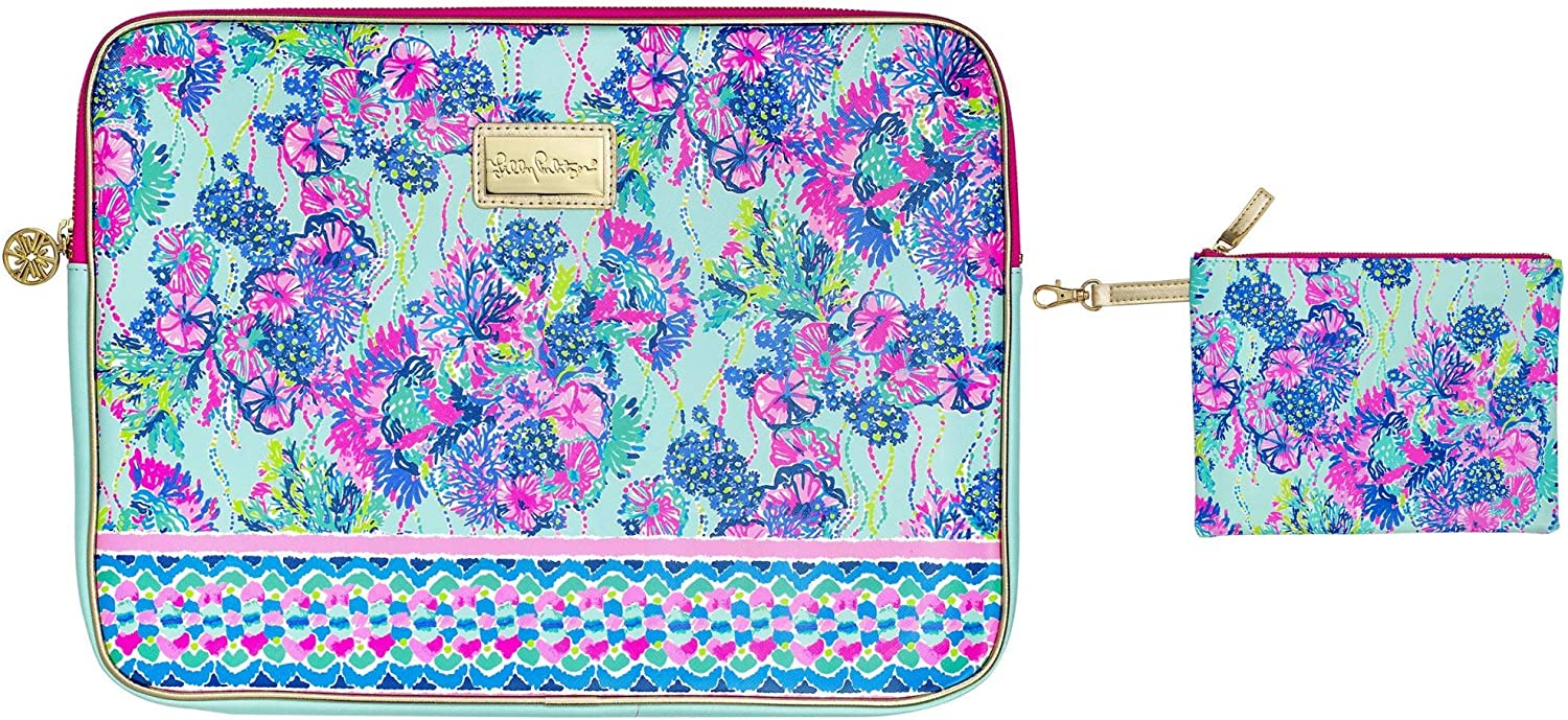 Lilly Pulitzer Soft Padded Tech Sleeve with Zip Pouch for Accessories, Laptop Case Fits up to 15 Inch Computer, Beach You to It