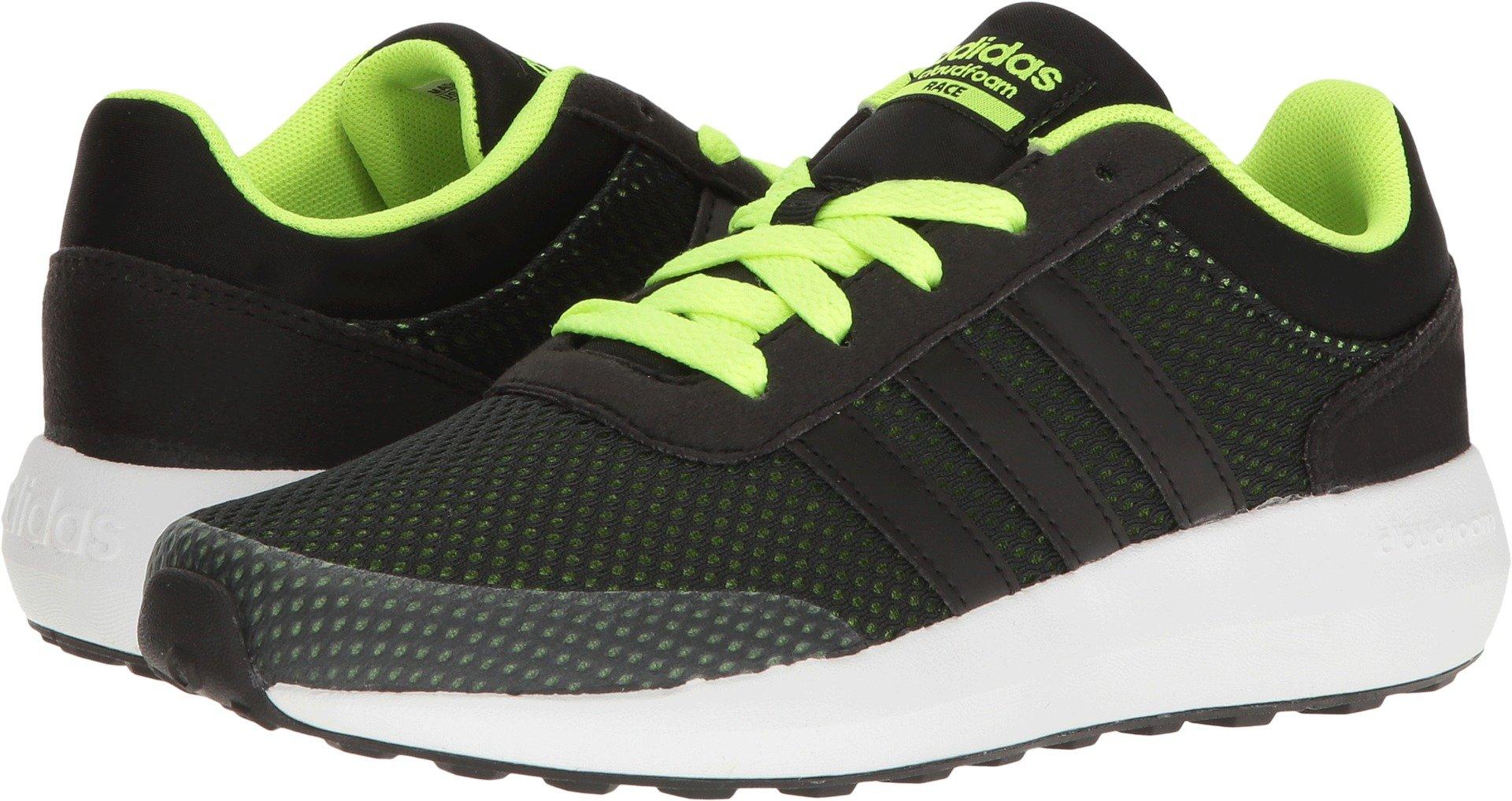 adidas Cloudfoam Race (Big) Sneaker, Black/Solar Yellow, 11.5 Little Kid M