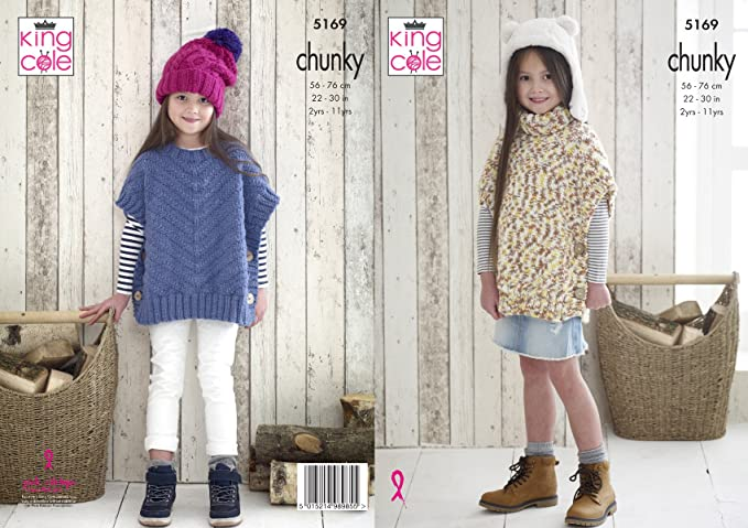 King Cole Girls Chunky Knitting Pattern by King Cole Easy Knit Polo Neck or Round Neck Ponchos 4602