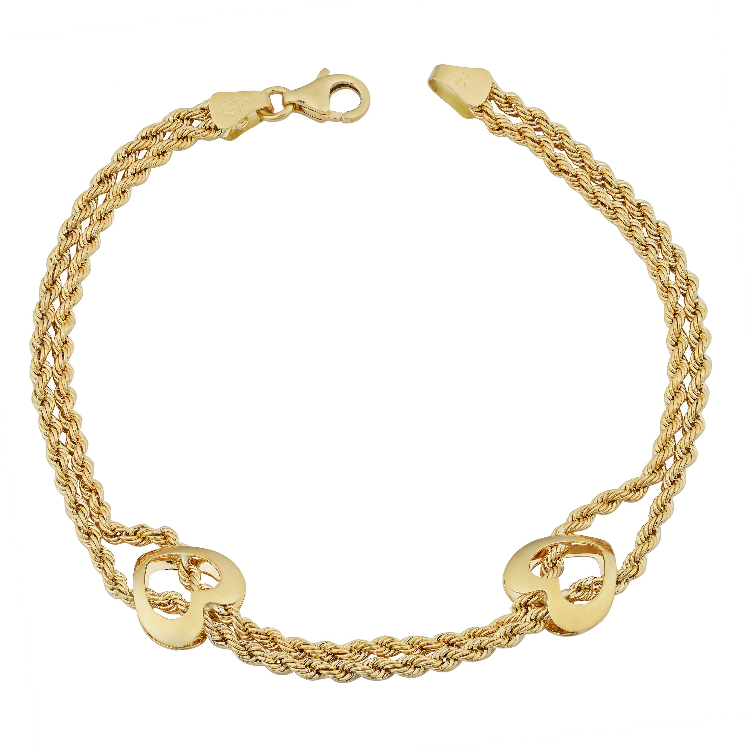 18k Yellow Gold Italian Double Strand Rope With Hearts Bracelet (7.5 inches)
