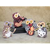 Tied Ribbons Owl Playing Musical Instruments Resin Showpiece (7.01 cm x 5.01 cm x 8.99 cm, Set of 4)