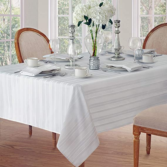 Newbridge Satin Stripe Weave No-Iron Soil Resistant Fabric Tablecloth, 60 X 102 Oblong, White