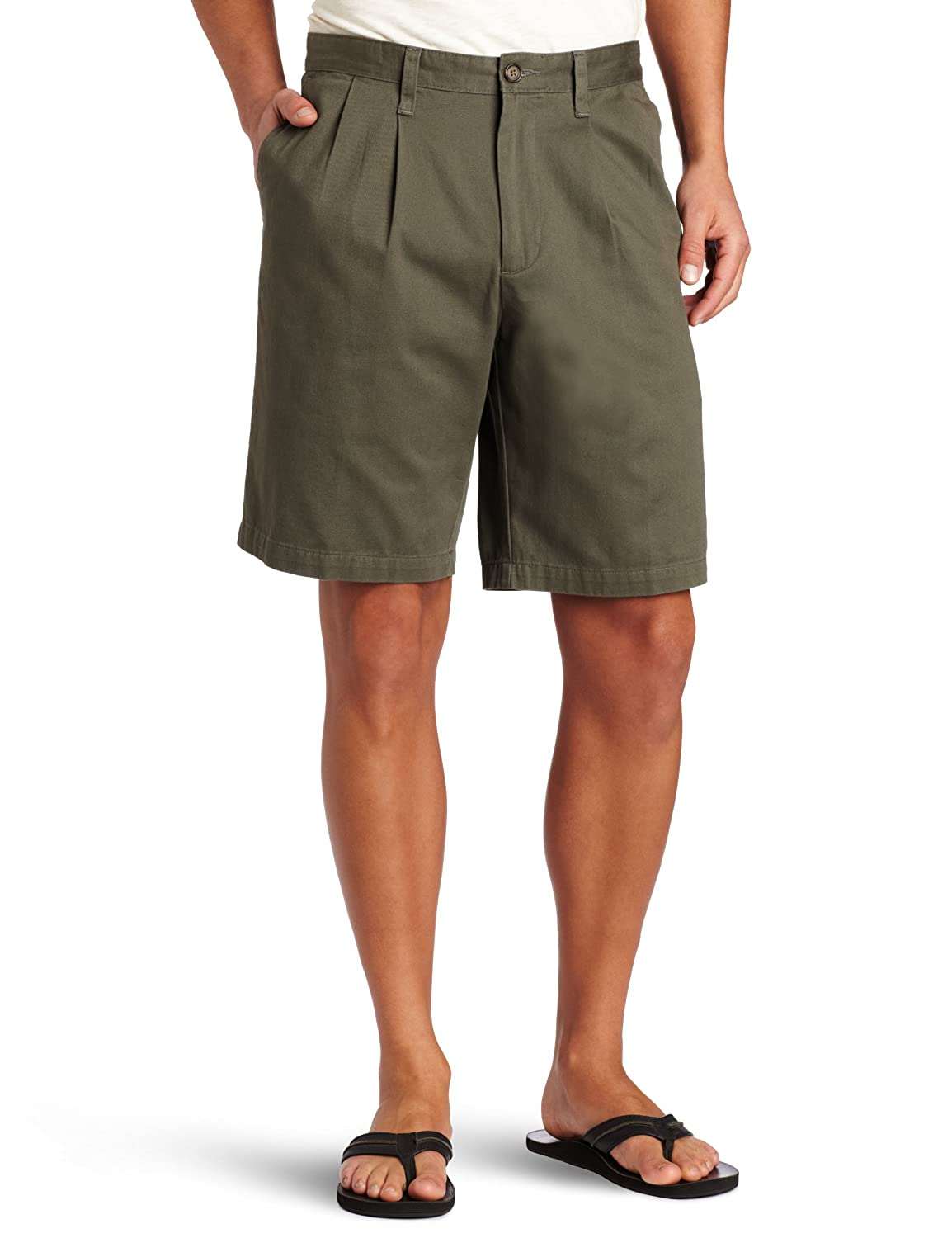 Mens Pleated Khaki Shorts