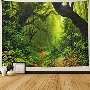 "Misty Forest Tapestry Magical Nature Green Tree Wall Tapestry Rainforest Landscape Tapestry Wall Hanging Bohemian Psychedelic Tapestry for Bedroom Living Room Dorm (XL-70.8"" × 94.5"", Forest)"
