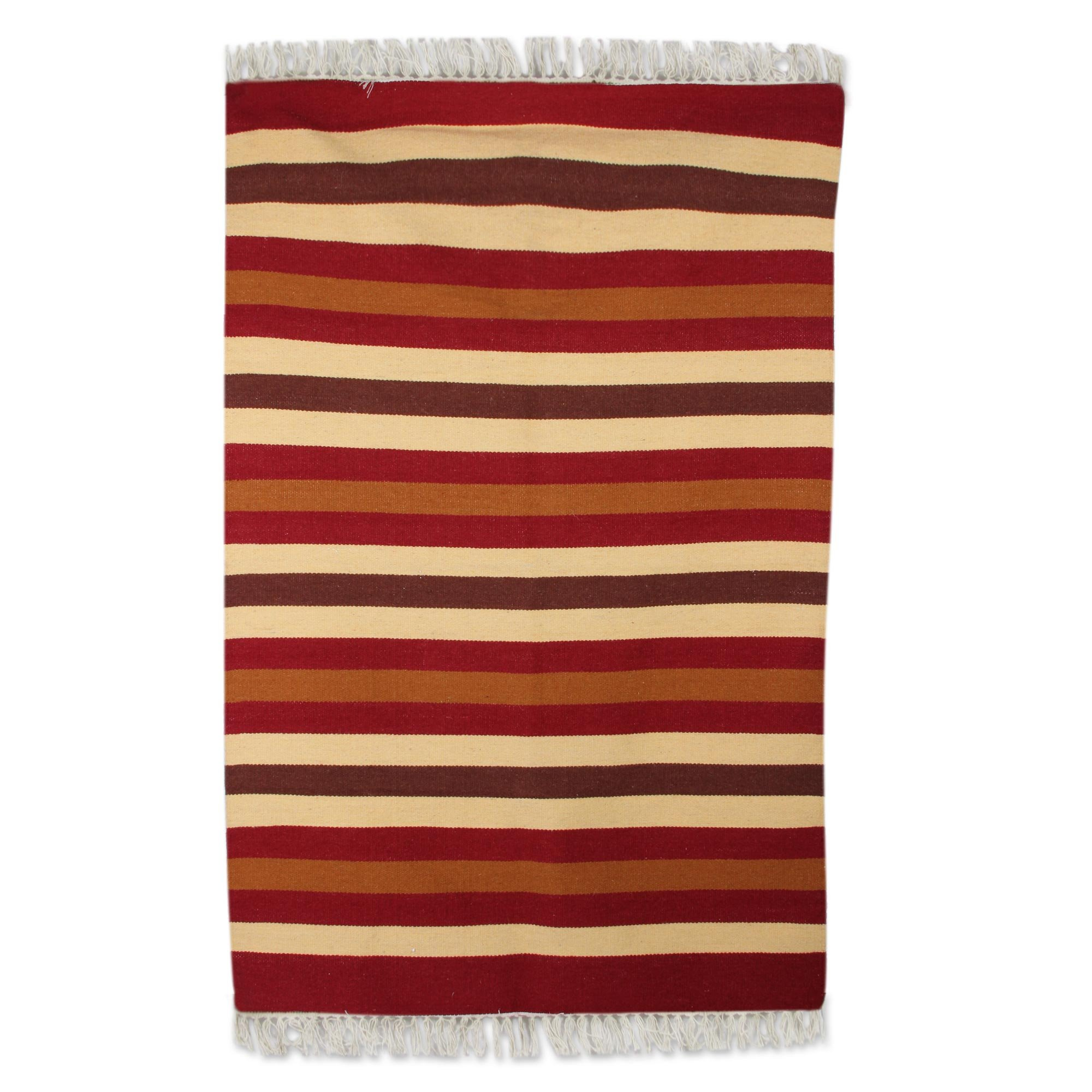 NOVICA Multicolor Wool Hand Woven Solids And Handloom Area Rug (4x6), 'Earthy Path'