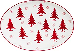 Euro Ceramica Winterfest Christmas Collection, 14-Inch Oval Platter, Red/White