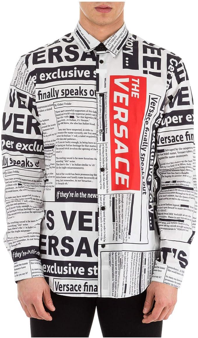 Versace Camisa Hombre Bianco - Nero 41 cm: Amazon.es: Ropa y accesorios