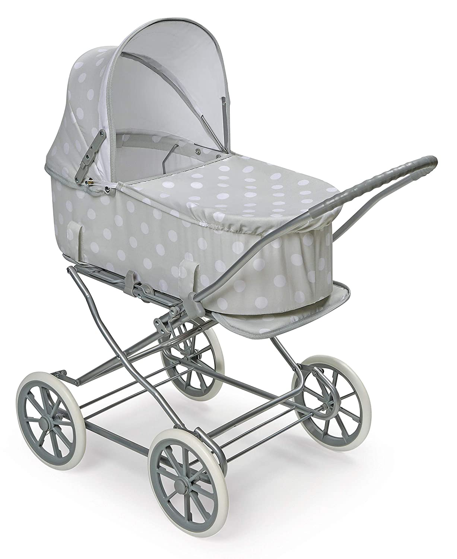 Badger Basket Just Like Mommy 3-in-1 Doll Pram/Carrier/Stroller (fits American Girl Dolls), Gray/White