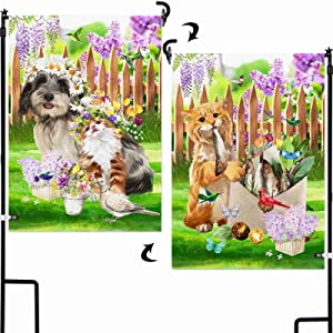 AOKDEER Welcome Dog Garden Flag 12.5x18 Prime, 2-in-1 Double Sided Burlap Funny Cat House Flags, Bird Flower Vintage Seasonal Yard Signs Gift for Patio Lawn Outdoor Decor, Different Front and Back