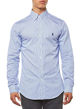 Polo Ralph Lauren LS Slim FIT BD Camisa Casual, (Blue/White Hai ...