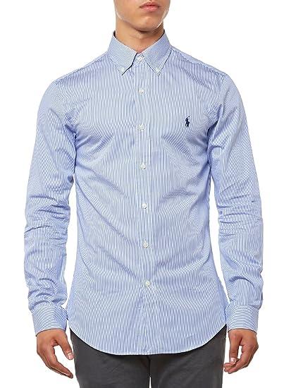 Polo Ralph Lauren LS Slim FIT BD Camisa Casual, (Blue/White Hai ...