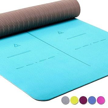 Heathyoga ® Estera de Yoga, Sistema de alineación único, de Peso Ligero, Antideslizante, protección del Medio Ambiente, Tamaño: 183cm x 65cm. Espesor: ...