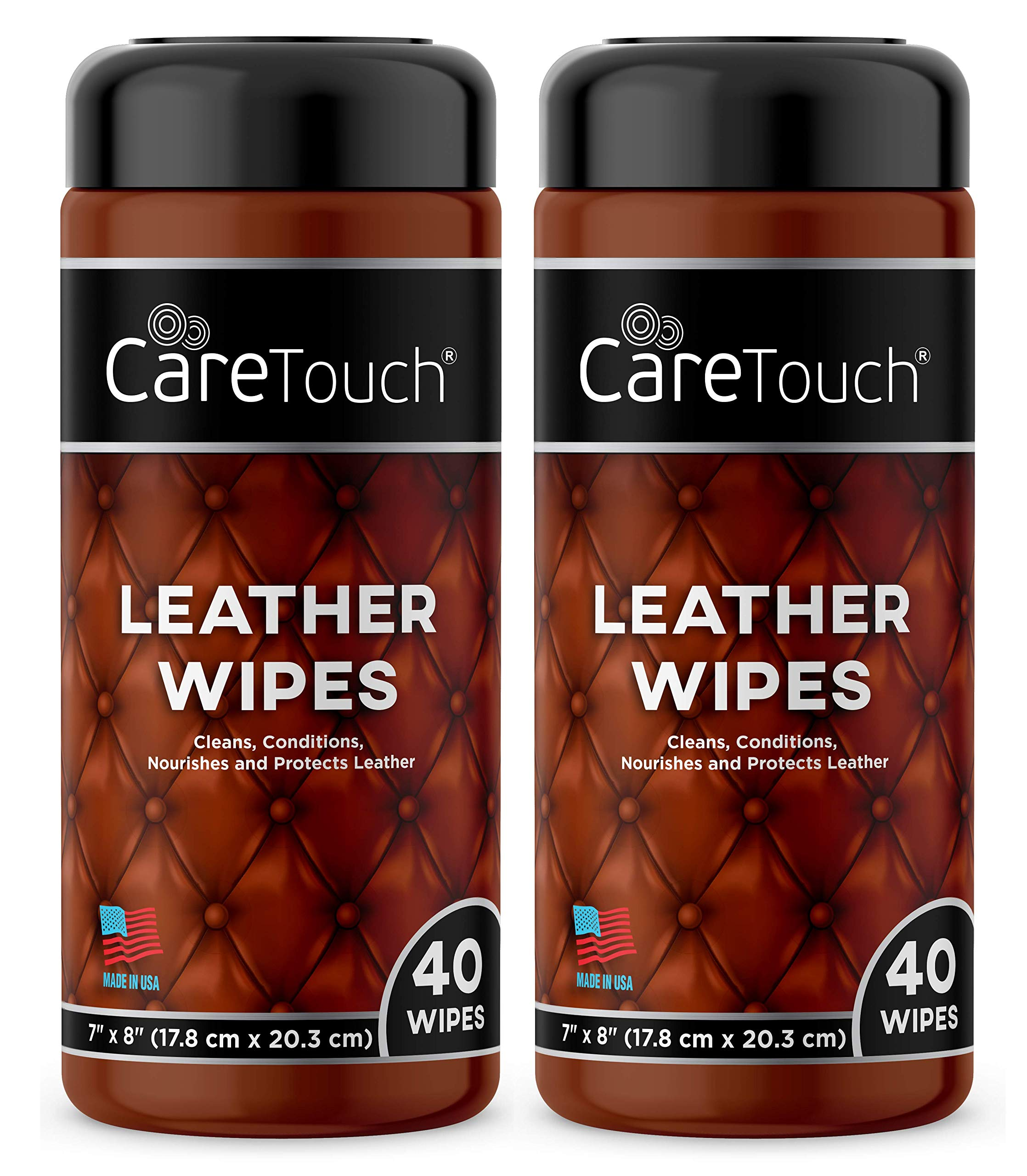 Care Touch Leather Cleaner Wipes for One-Step Cleaning, Conditioning, and Protecting - Pack of 2, 40 Wipes Each for Cars, Shoes and Other Leather Surfaces by Care Touch