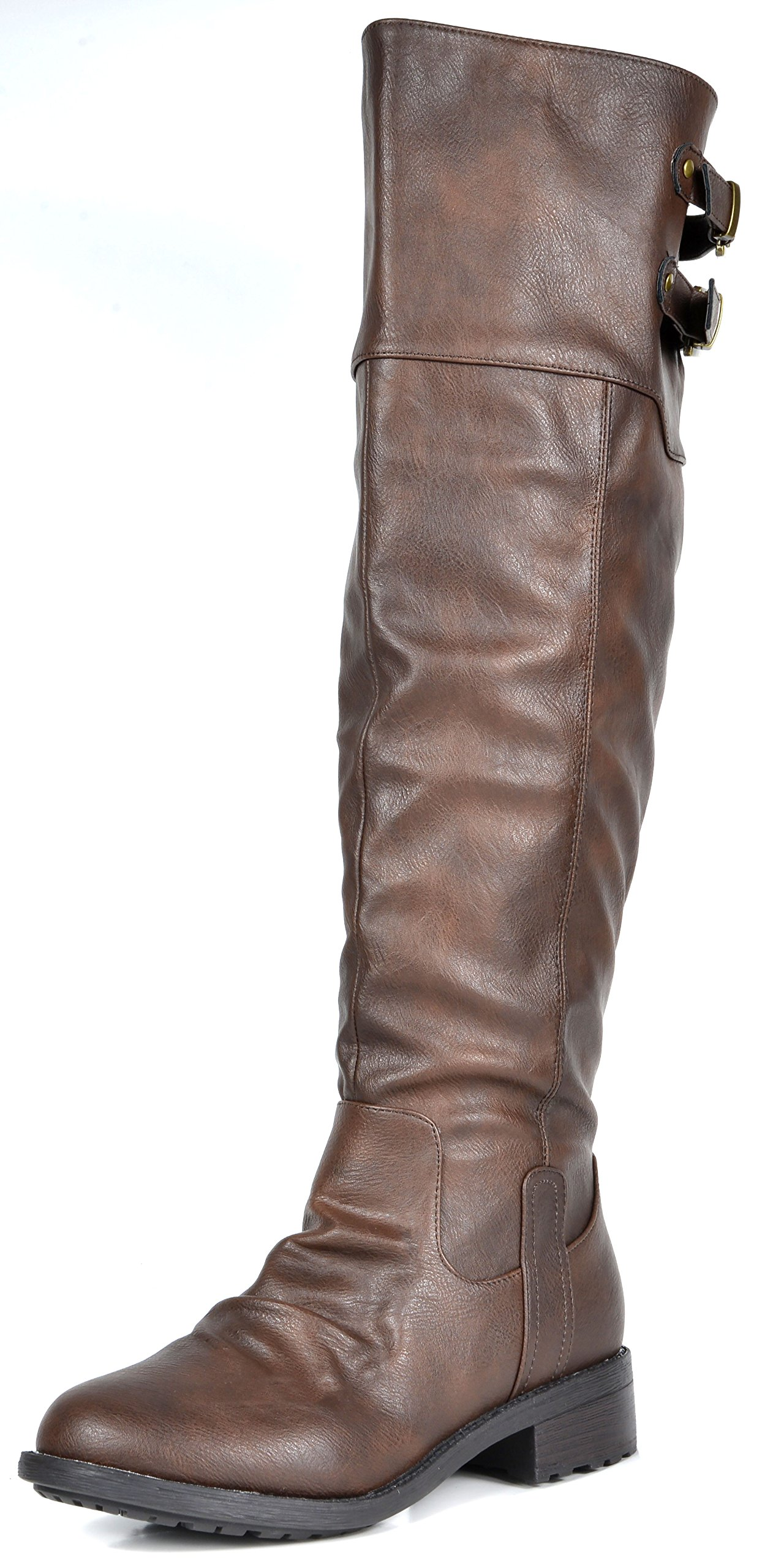 DREAM PAIRS Women's Supra Brown Over The Knee Motorcycle Riding Boots Wide Calf Size 8.5 M US