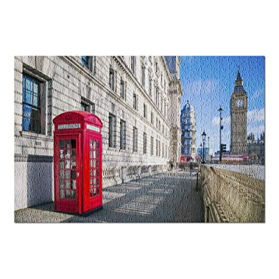 London, England - Traditional Red Telephone Box with Big Ben 9002886 (Premium 500 Piece Jigsaw Puzzle for Adults, 13x19, Made in USA!): Toys & Games [5Bkhe1104004]