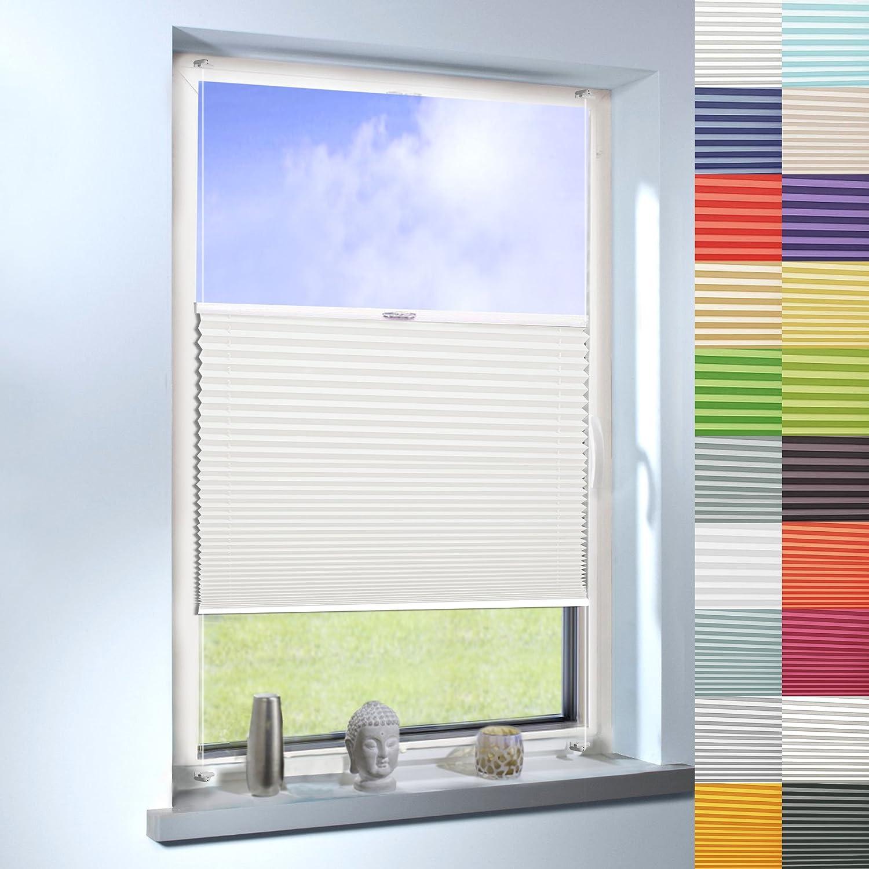 SUNWORLD Plissee nach Maß, Klemmfix ohne Bohren,hochqualitative Wertarbeit, 20 Farben verfügbar, für Fenster und Türen (Farbe  Cremeweiß, Höhe  120cm x Breite  135cm)