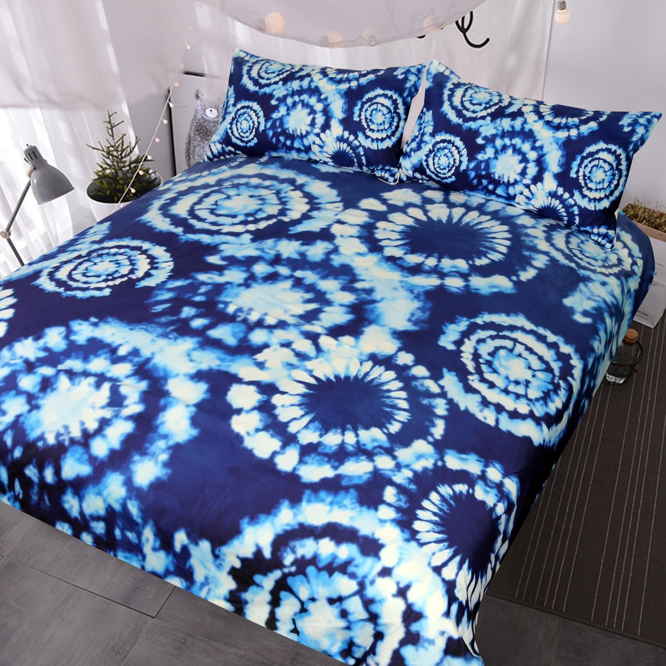 Blessliving 3 Pcs Blue Tie Dye Bedding Boho Indigo Tie Die Bedspreads Chic Blue and White Tie-Dyed Duvet Cover (Full)