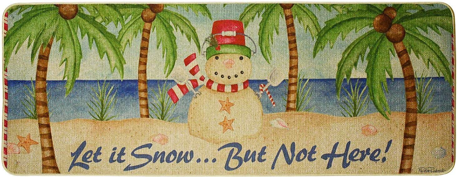 Kilipes Christmas Decorative Door Mats Snowman Winter Door Mat Tropical Holiday Welcome Mats for Front Door Let It Snow Non Slip Rubber Christmas Doormat 47x17.75 inch