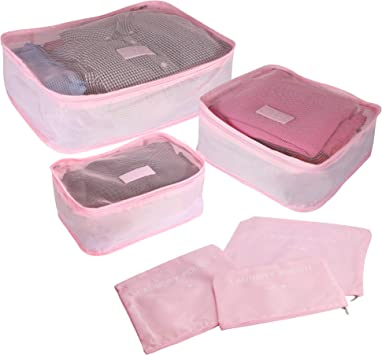 M/&W Cubes de vacances gain de place Organisateurs de voyage respirants Organisation de sac /à dos de bagages de valise Bleu