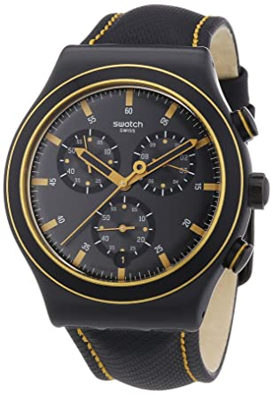 Amazon.com: Swatch Noho Time Leather Chronograph Mens Watch YVB400: Watches