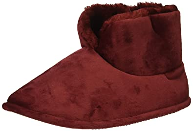 d28c2a31ead2 Dearfoams Women s Solid Velour Bootie Slipper Cabernet M Regular US