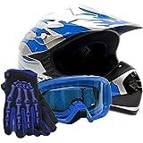 Youth Kids Offroad Gear Combo Helmet Gloves Goggles DOT Motocross ATV Dirt Bike MX Motorcycle Blue - Large