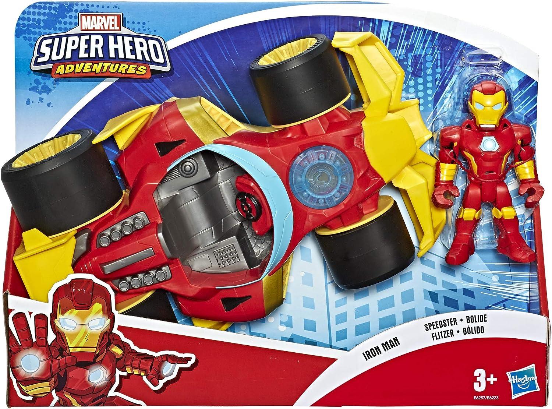 12,5 cm große Playskool Heroes Marvel Super Hero Adventures Iron Man Speedster Figur und Fahrzeug Set, Spielzeuge für Kinder ab 3 Jahren zum Sammeln