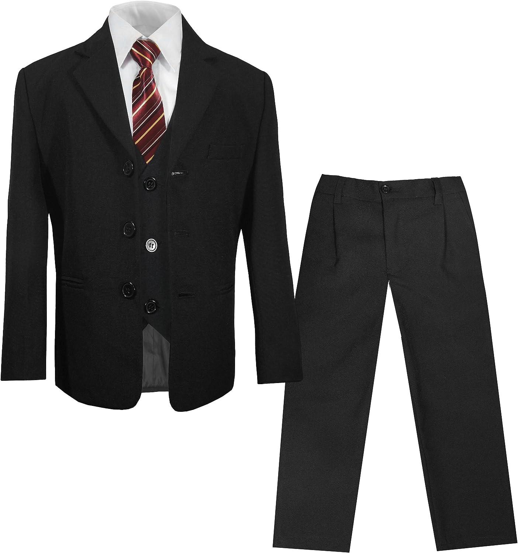 Paul Malone Kinderanzug (Kommunionsanzug, Konfirmationsanzug, Taufanzug) schwarz 5tlg. Sakko + Hose + Weste + Hemd + Krawatte