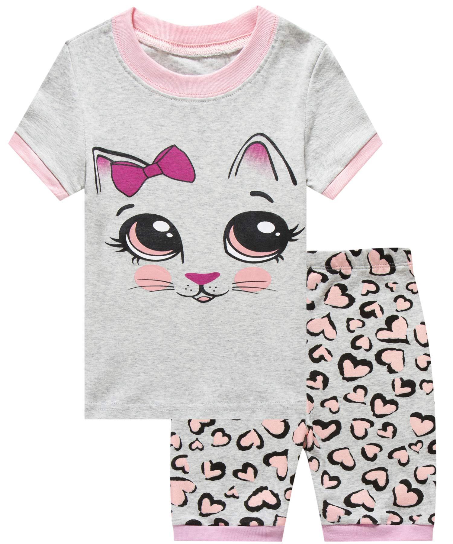 Girls Short Pajamas Cat Sleepwear 100% Cotton Summer Toddler Pjs Clothes Shirts 10T