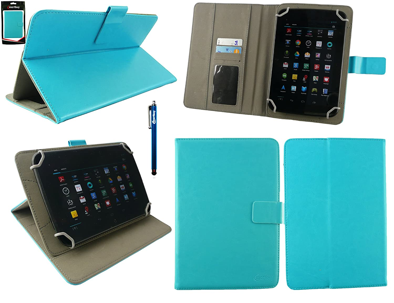 Emartbuy® Bq Edison 3 Mini 8 Inch Tablet Universal Range Turquesa Ángulo Múltiples Executive Folio Funda Carcasa Wallet Case Cover con Tarjeta de ...