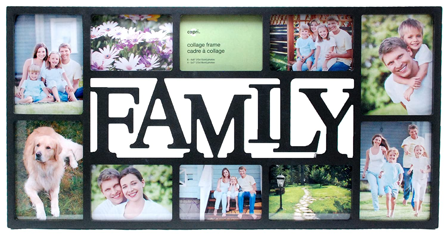 amazoncom kiera grace family 10 opening collage frame 145 by 285 inch holds 4 5 by 7 inch and 6 4 by 6 inch photos black home kitchen