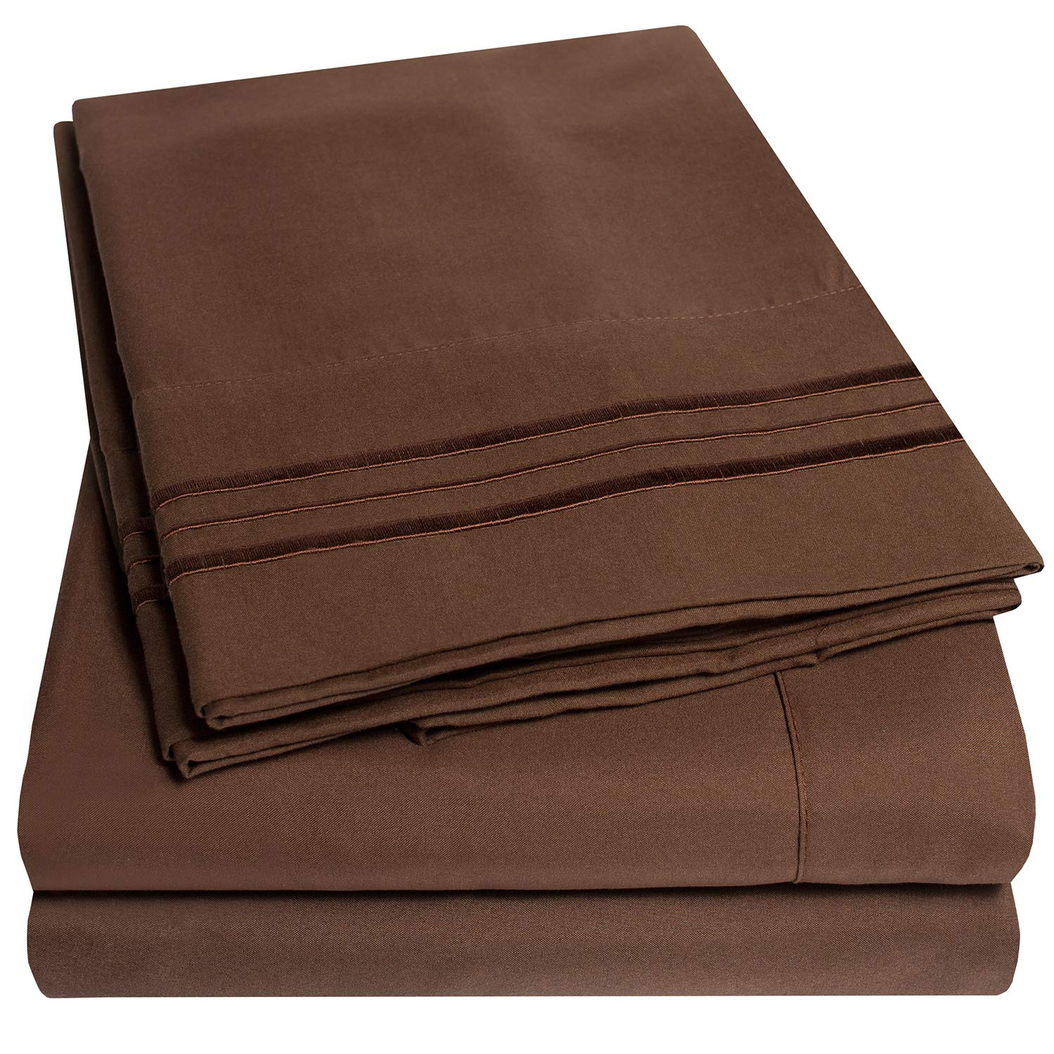 1500 Supreme Collection Extra Soft Queen Sheets Set, Brown - Luxury Bed Sheets Set with Deep Pocket Wrinkle Free Hypoallergenic Bedding, Over 40 Colors, Queen Size, Brown