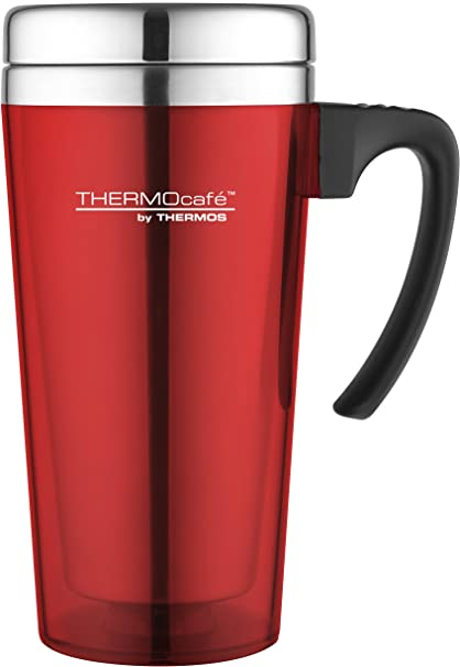 46c97cb9e28 Thermos ThermoCafé Soft Touch Travel Mug, Red, 420 ml: Amazon.co.uk:  Kitchen & Home